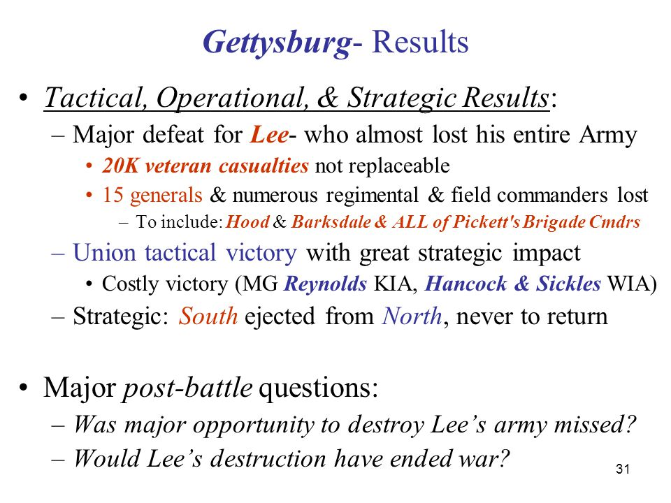 31 Gettysburg- Results Tactical, Operational, & Strategic Results: –Major defeat for Lee- who almost lost his entire Army 20K veteran casualties not r