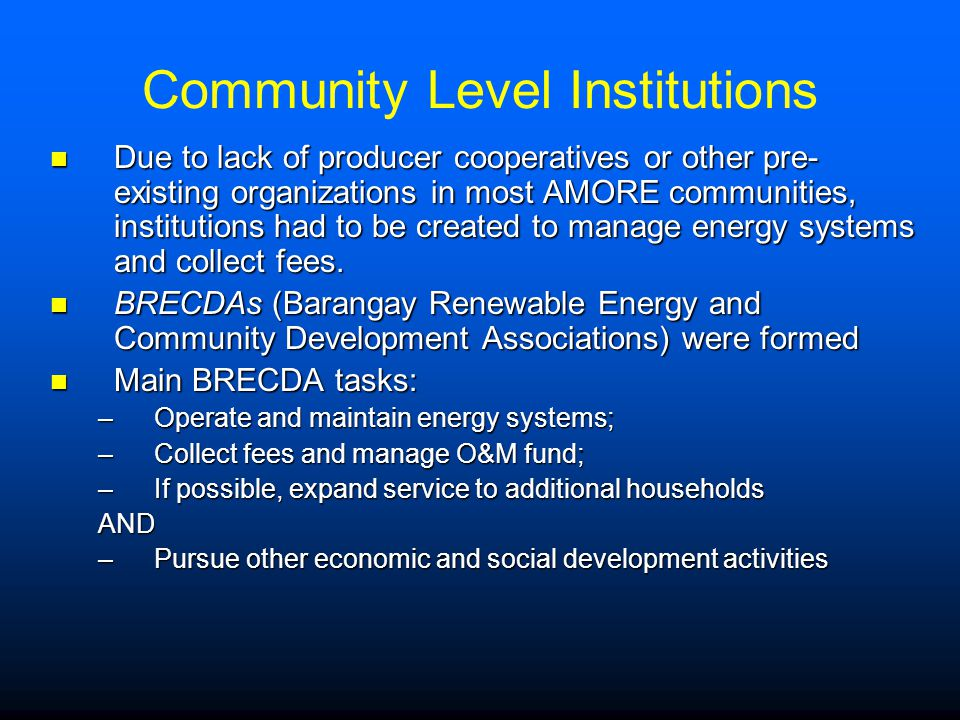 Community Level Institutions Due to lack of producer cooperatives or other pre- existing organizations in most AMORE communities, institutions had to be created to manage energy systems and collect fees.