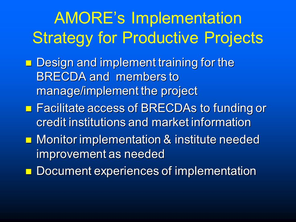 AMORE's Implementation Strategy for Productive Projects Design and implement training for the BRECDA and members to manage/implement the project Design and implement training for the BRECDA and members to manage/implement the project Facilitate access of BRECDAs to funding or credit institutions and market information Facilitate access of BRECDAs to funding or credit institutions and market information Monitor implementation & institute needed improvement as needed Monitor implementation & institute needed improvement as needed Document experiences of implementation Document experiences of implementation