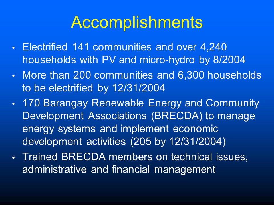 Accomplishments Electrified 141 communities and over 4,240 households with PV and micro-hydro by 8/2004 More than 200 communities and 6,300 households to be electrified by 12/31/2004 170 Barangay Renewable Energy and Community Development Associations (BRECDA) to manage energy systems and implement economic development activities (205 by 12/31/2004) Trained BRECDA members on technical issues, administrative and financial management