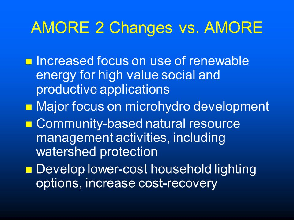 AMORE 2 Changes vs.