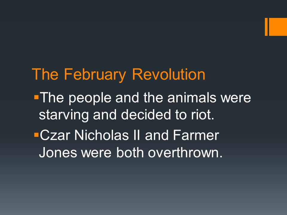 The February Revolution  The people and the animals were starving and decided to riot.