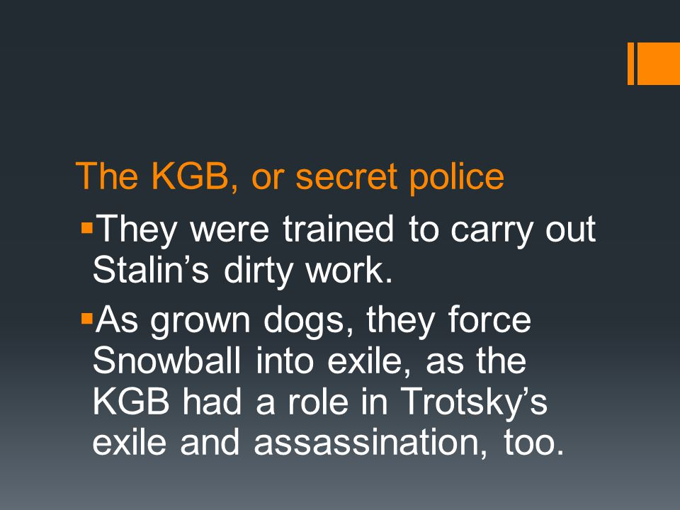 The KGB, or secret police  They were trained to carry out Stalin's dirty work.