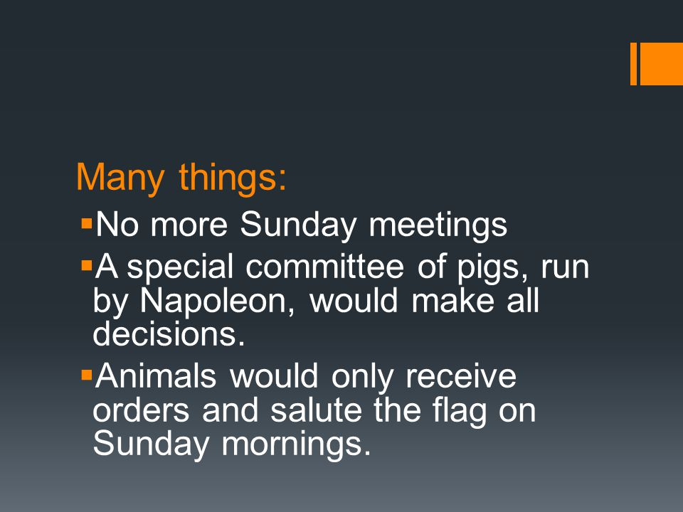 Many things:  No more Sunday meetings  A special committee of pigs, run by Napoleon, would make all decisions.