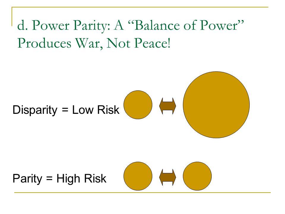 "d. Power Parity: A ""Balance of Power"" Produces War, Not Peace! Disparity = Low Risk Parity = High Risk"