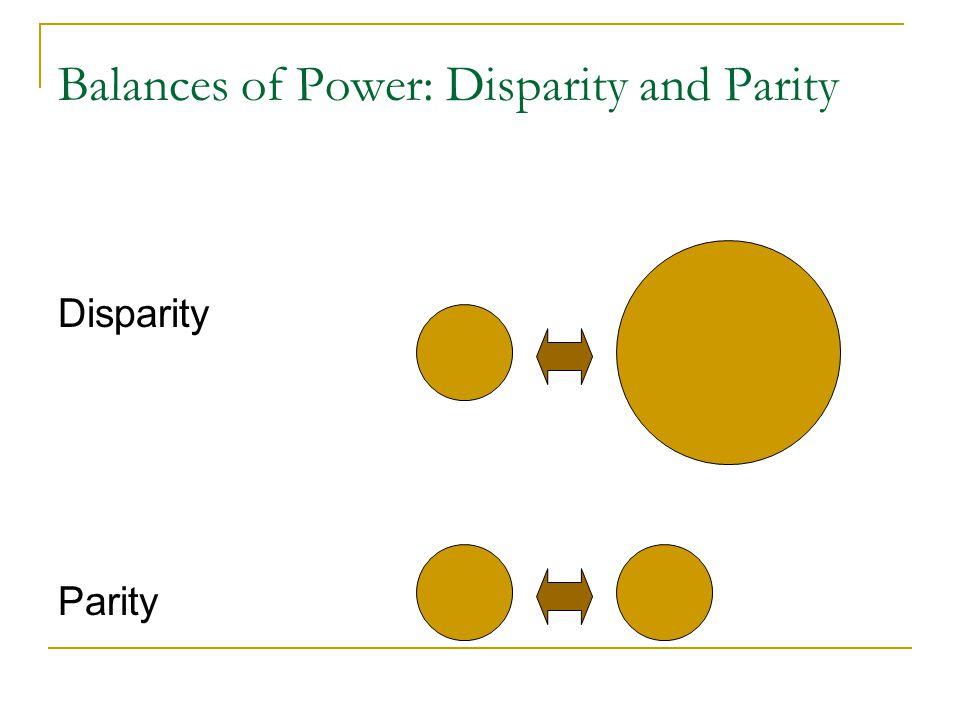 Balances of Power: Disparity and Parity Disparity Parity