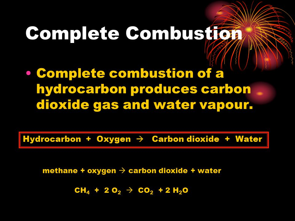 Complete Combustion Complete combustion of a hydrocarbon produces carbon dioxide gas and water vapour.