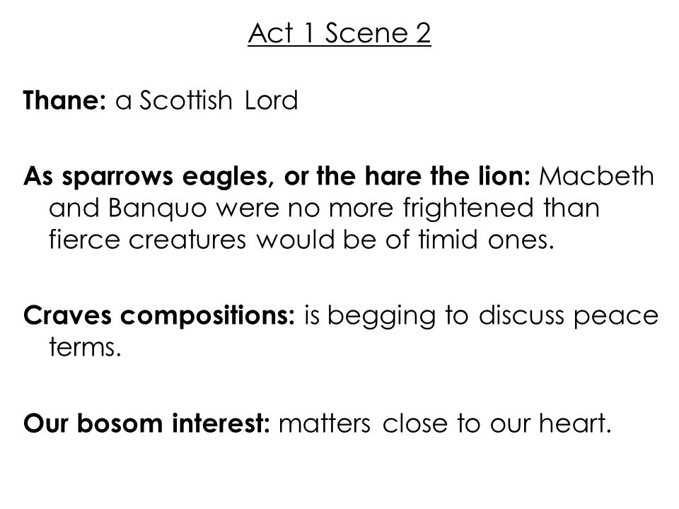 Act 1 Scene 2 Thane: a Scottish Lord As sparrows eagles, or the hare the lion: Macbeth and Banquo were no more frightened than fierce creatures would