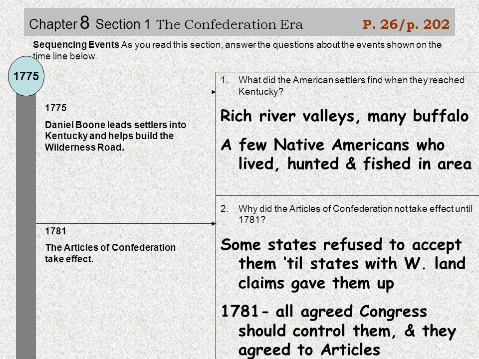 Chapter 8 Section 1 The Confederation Era P. 26/p.