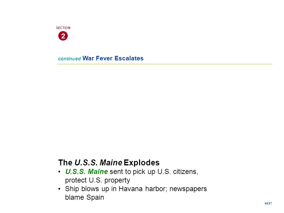 continued War Fever Escalates 2 SECTION NEXT The U.S.S.