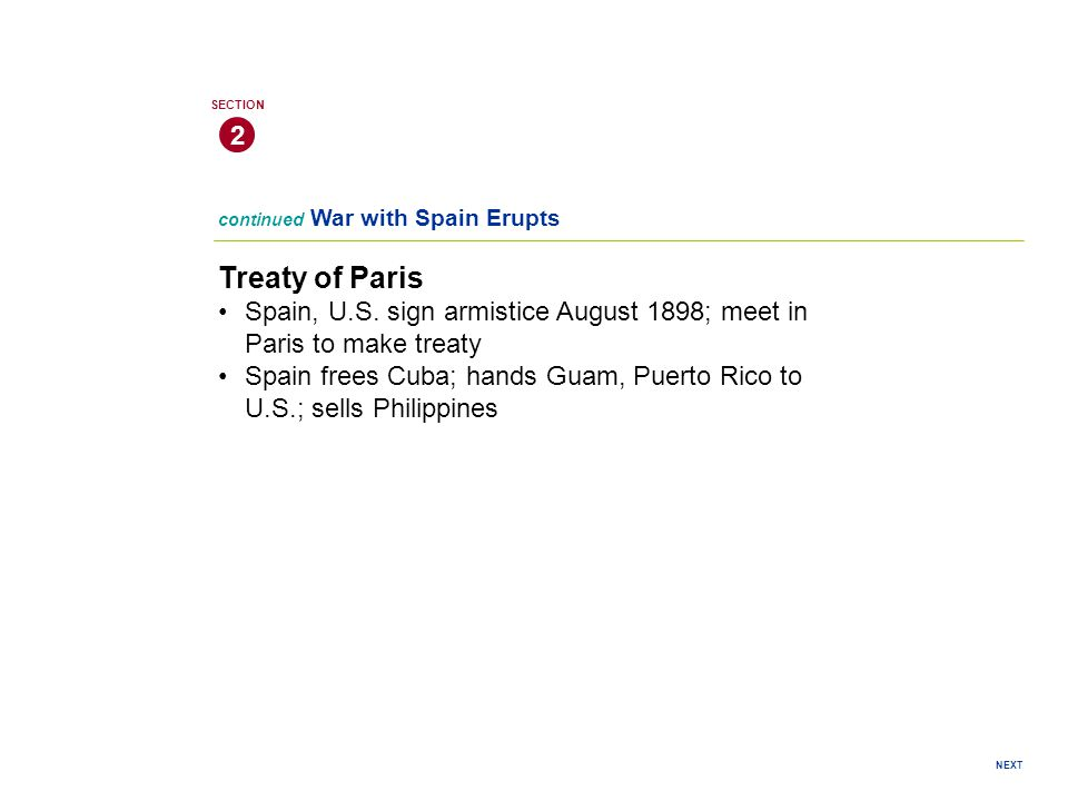 Treaty of Paris Spain, U.S.