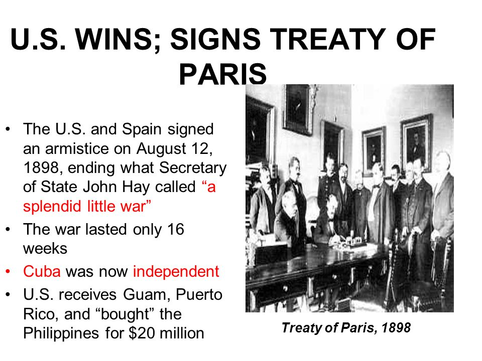 U.S. WINS; SIGNS TREATY OF PARIS The U.S.