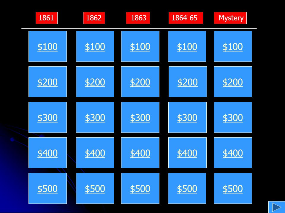 $200 $400 $600 $800 $1000 $200 $400 $600 $800 $1000 $200 $400 $600 $800 $1000 $200 $400 $600 $800 $1000 $200 $400 $600 $800 $1000 1861 1862 18631864-65Mystery