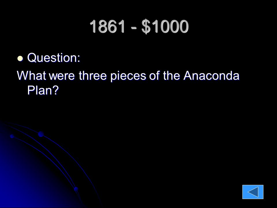 1861 - $1000 Question: Question: What were three pieces of the Anaconda Plan