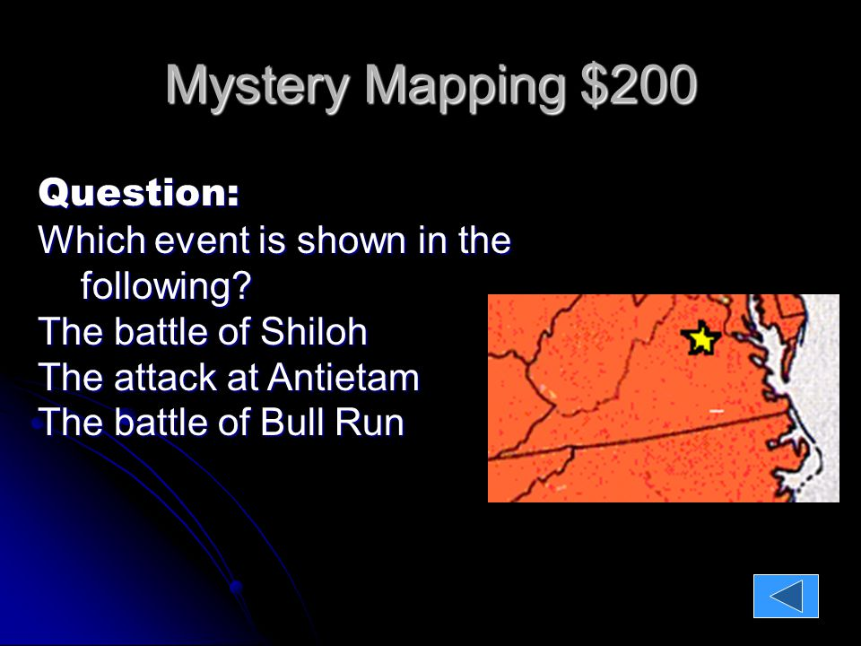 Mystery Mapping $200 Question: Which event is shown in the following.