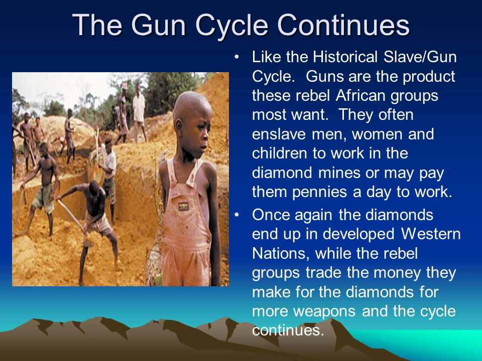 The Gun Cycle Continues Like the Historical Slave/Gun Cycle. Guns are the product these rebel African groups most want. They often enslave men, women