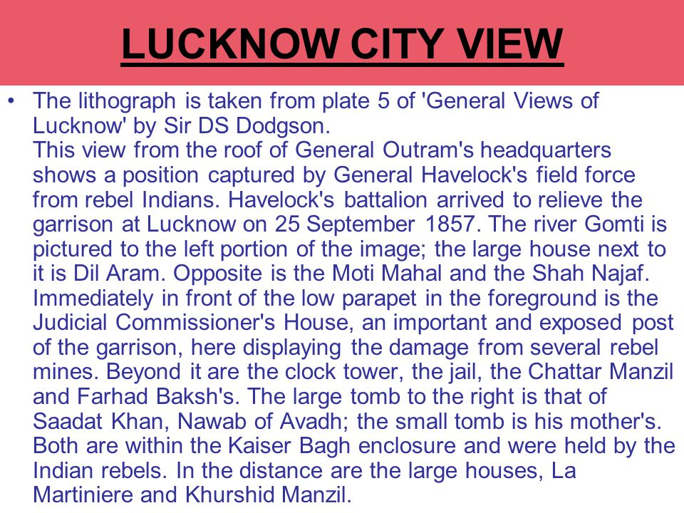LUCKNOW CITY VIEW The lithograph is taken from plate 5 of General Views of Lucknow by Sir DS Dodgson.