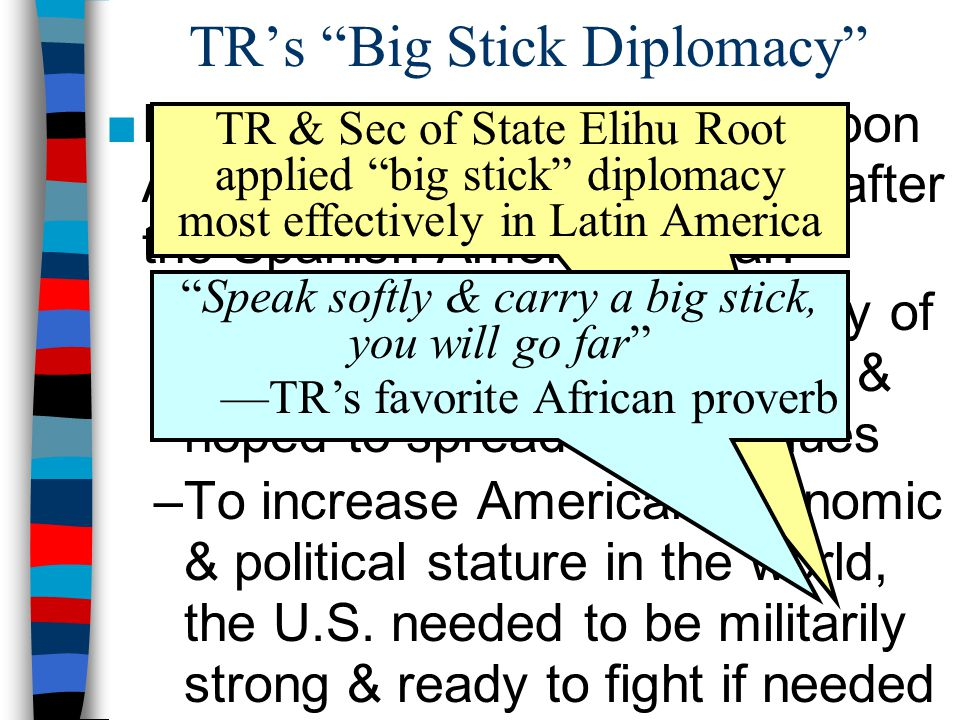 """TR's """"Big Stick Diplomacy"""" ■Roosevelt hoped to expand upon America's new, world stature after the Spanish-American War: –TR believed in the superiorit"""