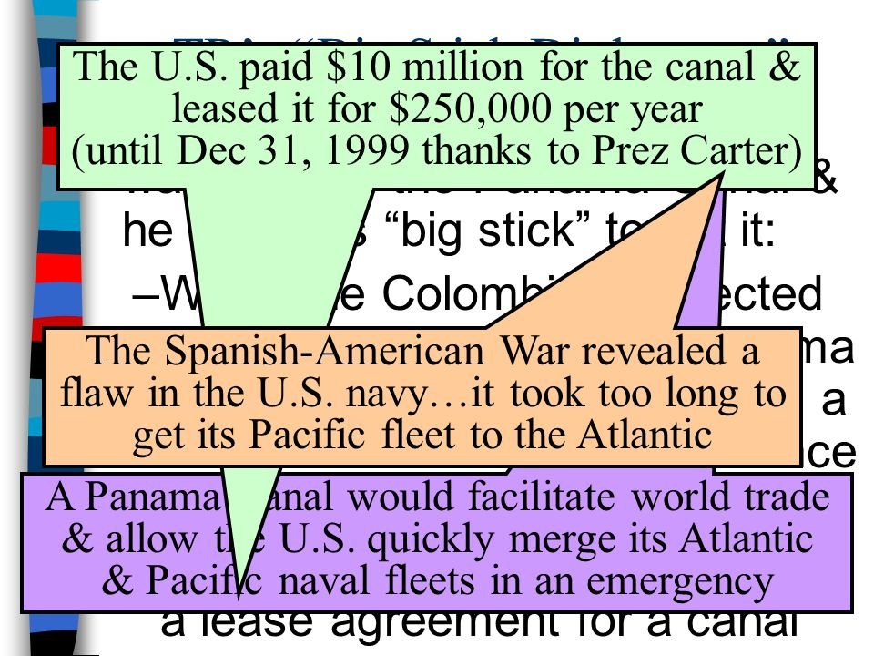 """TR's """"Big Stick Diplomacy"""" ■TR's top foreign policy objective was to build the Panama Canal & he used his """"big stick"""" to get it: –When the Colombians"""