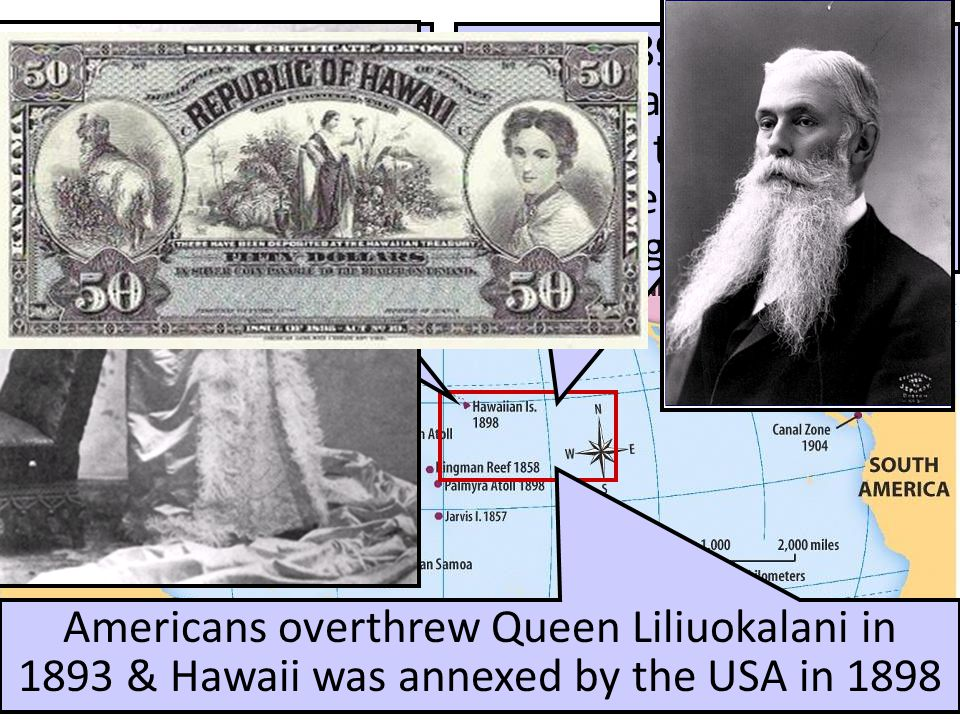 U.S. Imperialism: HAWAII From 1820 to 1890, Americans moved to Hawaii as missionaries & fruit plantation owners In 1891, Queen Liliuokalani came to po