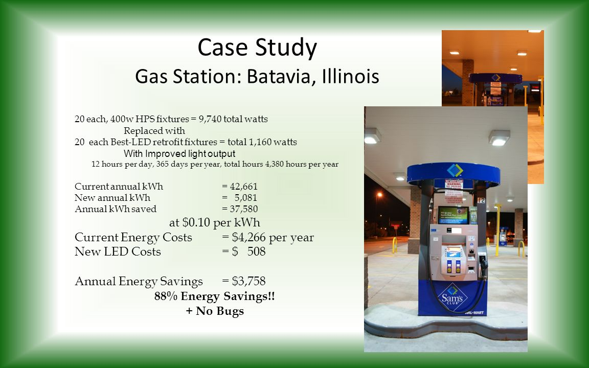 Case Study Gas Station: Batavia, Illinois 20 each, 400w HPS fixtures = 9,740 total watts Replaced with 20 each Best-LED retrofit fixtures = total 1,16