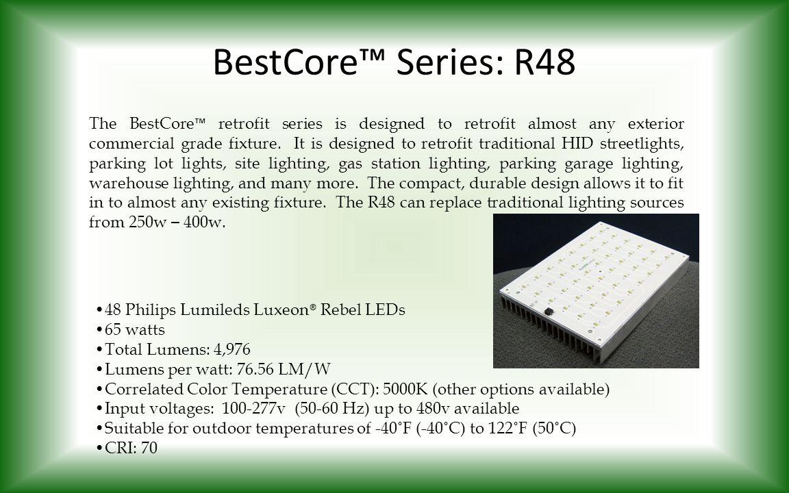 BestCore™ Series: R48 The BestCore ™ retrofit series is designed to retrofit almost any exterior commercial grade fixture. It is designed to retrofit