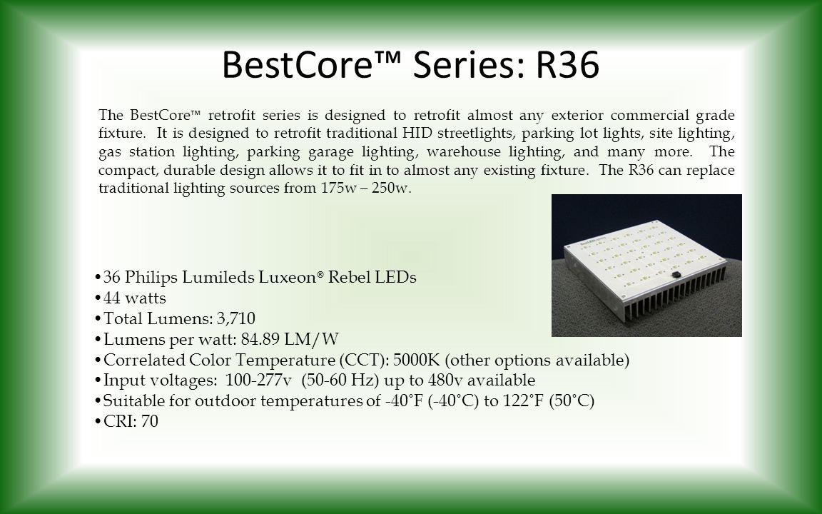 BestCore™ Series: R36 The BestCore ™ retrofit series is designed to retrofit almost any exterior commercial grade fixture. It is designed to retrofit