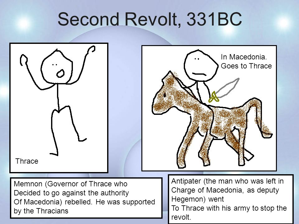 Third Revolt, 331BC 10 ships 30 talents Employed 8000 of Darius' Old Mercenaries (From Issus) With the help Of Autophrades King Agis III allied himself with the Persians Rebel against Macedonian rule King Agis King Agis saw it as a good time to rebel because Antipater was distracted Sorting out things out in Thrace.