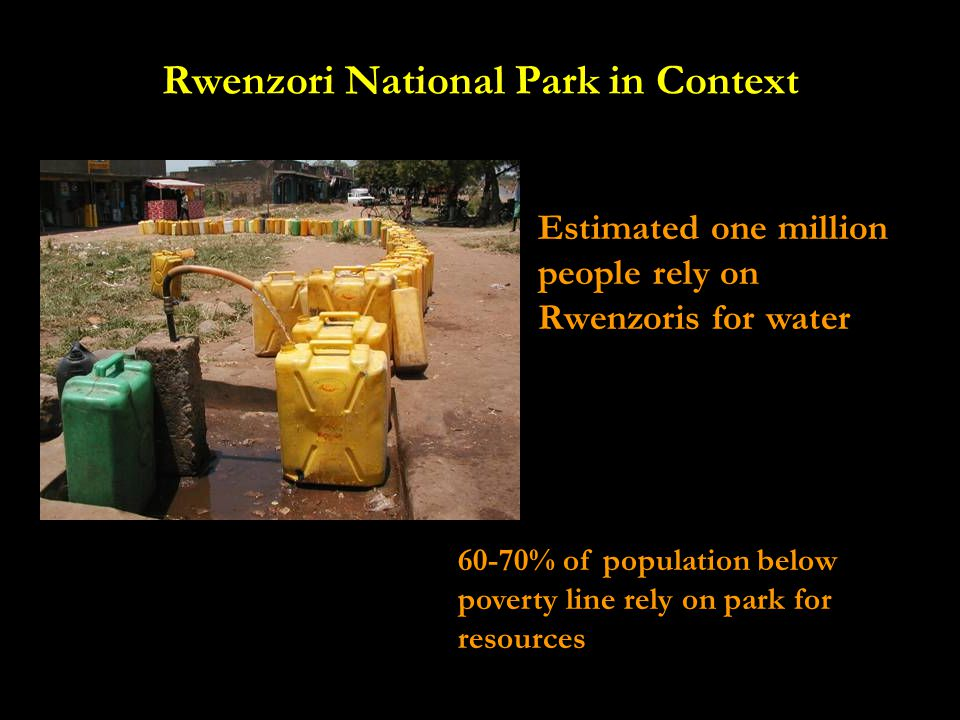 Rwenzori National Park in Context Estimated one million people rely on Rwenzoris for water 60-70% of population below poverty line rely on park for resources