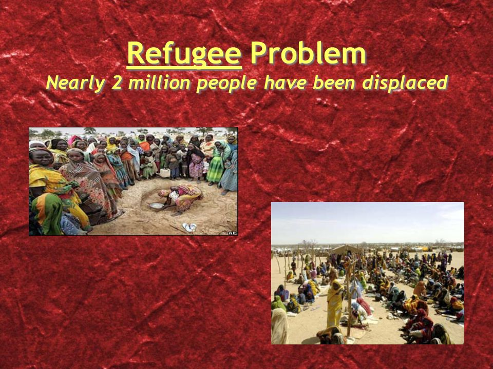 Refugee Problem Nearly 2 million people have been displaced
