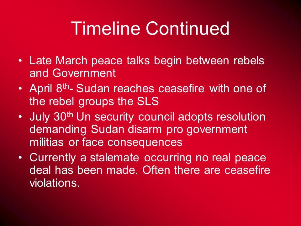 Brief Timeline of Problem March- fighting breaks out in Darfur region between Government and the two rebel groups the SLA and the JEM.