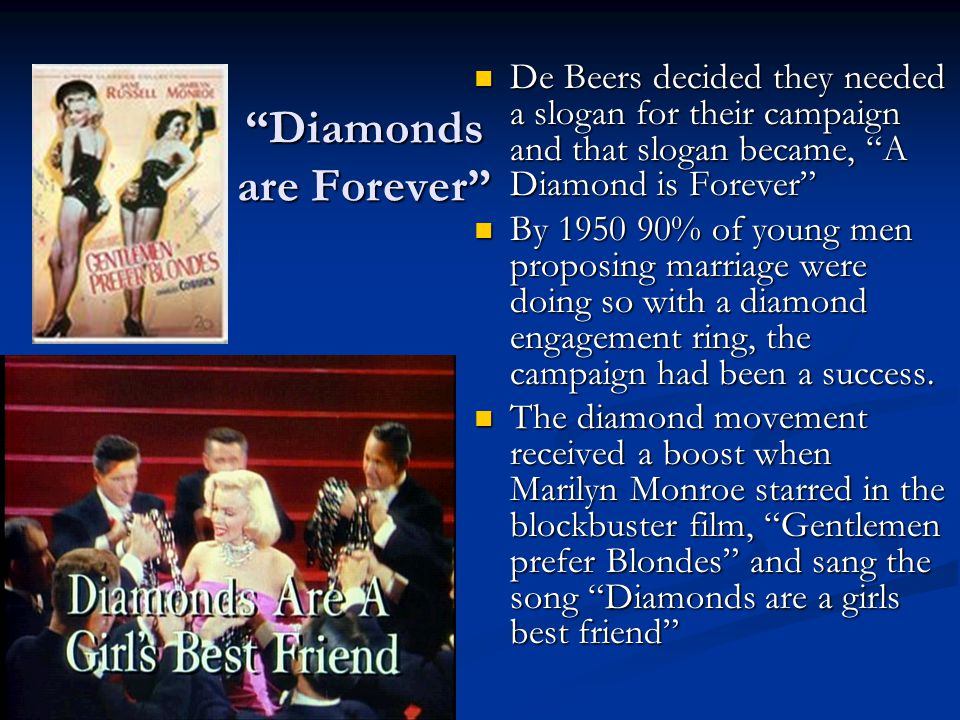 """""""Diamonds are Forever"""" De Beers decided they needed a slogan for their campaign and that slogan became, """"A Diamond is Forever"""" By 1950 90% of young me"""