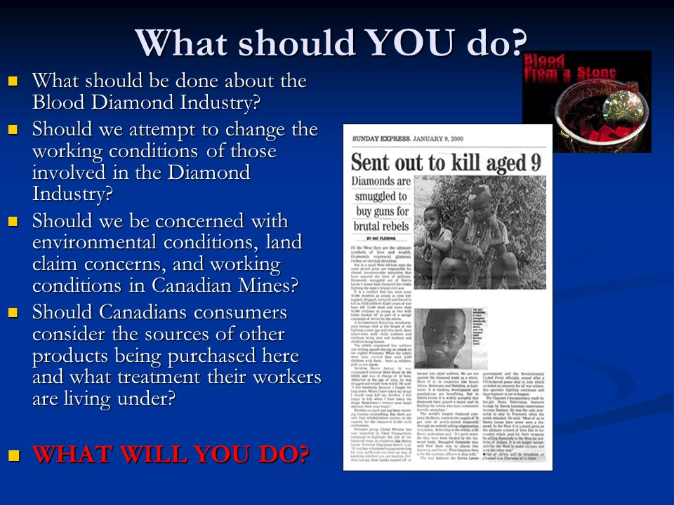 What should YOU do? What should be done about the Blood Diamond Industry? What should be done about the Blood Diamond Industry? Should we attempt to c