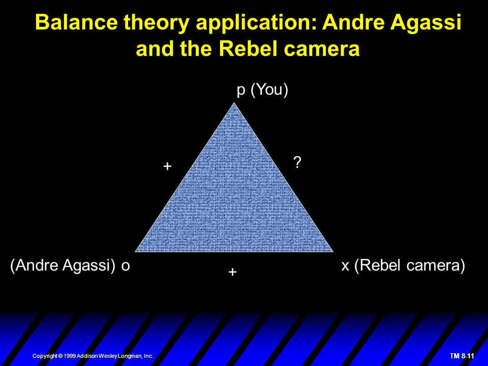 TM 8-11 Copyright © 1999 Addison Wesley Longman, Inc. Balance theory application: Andre Agassi and the Rebel camera p (You) (Andre Agassi) o x (Rebel