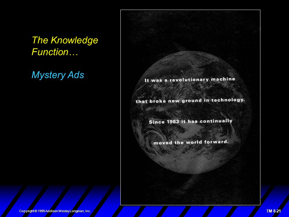 TM 8-21 Copyright © 1999 Addison Wesley Longman, Inc. The Knowledge Function… Mystery Ads