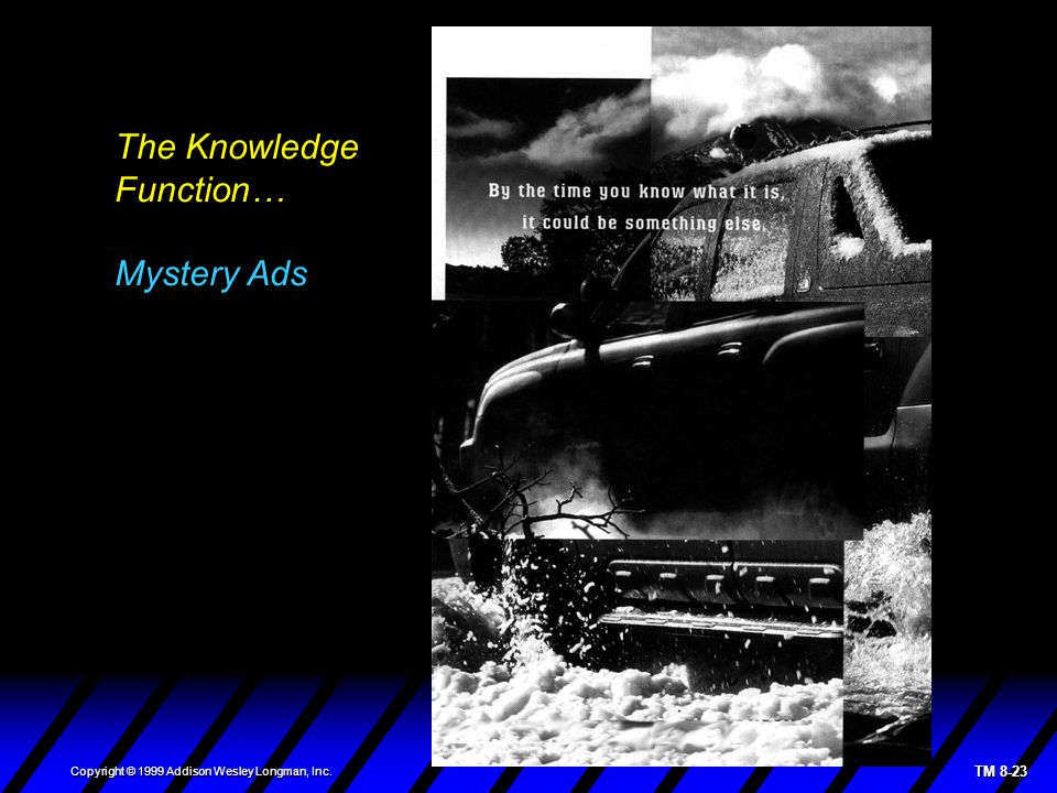 TM 8-23 Copyright © 1999 Addison Wesley Longman, Inc. The Knowledge Function… Mystery Ads
