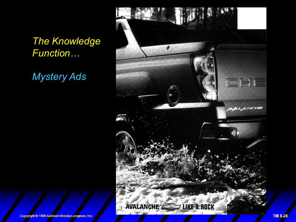 TM 8-24 Copyright © 1999 Addison Wesley Longman, Inc. The Knowledge Function… Mystery Ads