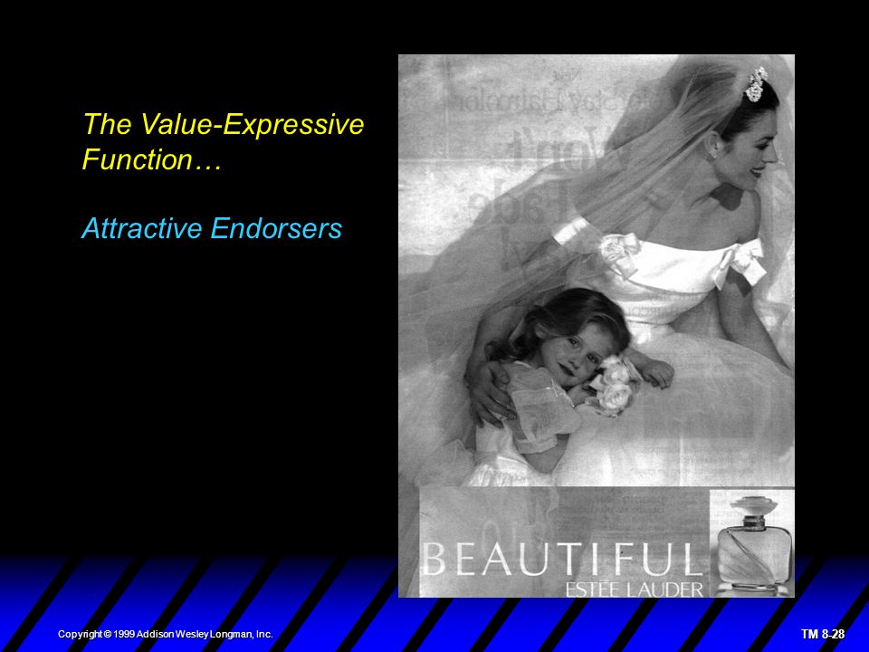 TM 8-28 Copyright © 1999 Addison Wesley Longman, Inc. The Value-Expressive Function… Attractive Endorsers