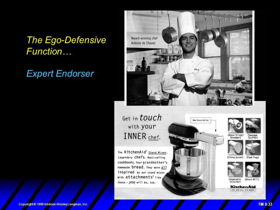 TM 8-33 Copyright © 1999 Addison Wesley Longman, Inc. The Ego-Defensive Function… Expert Endorser