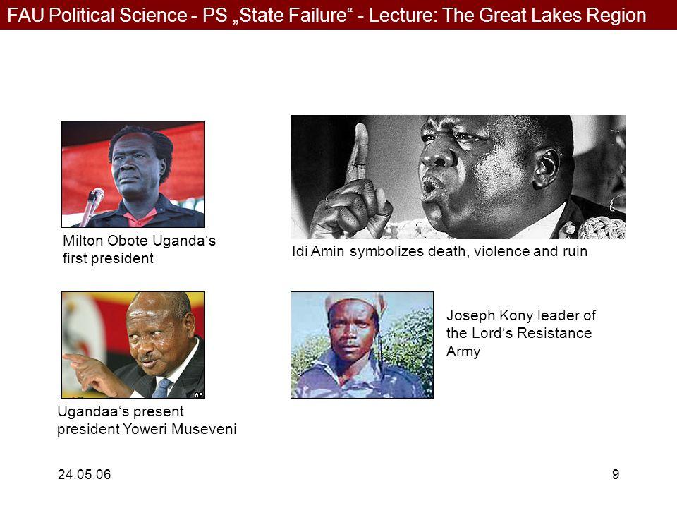 "FAU Political Science - PS ""State Failure"" - Lecture: The Great Lakes Region 24.05.069 Milton Obote Uganda's first president Idi Amin symbolizes death"