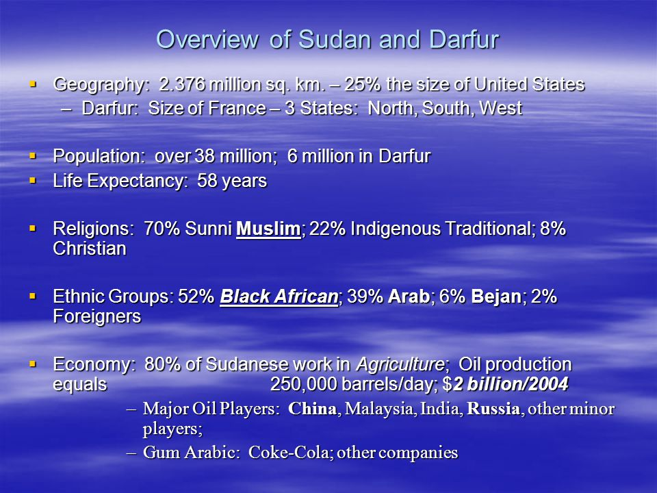 Overview of Sudan and Darfur  Geography: 2.376 million sq.