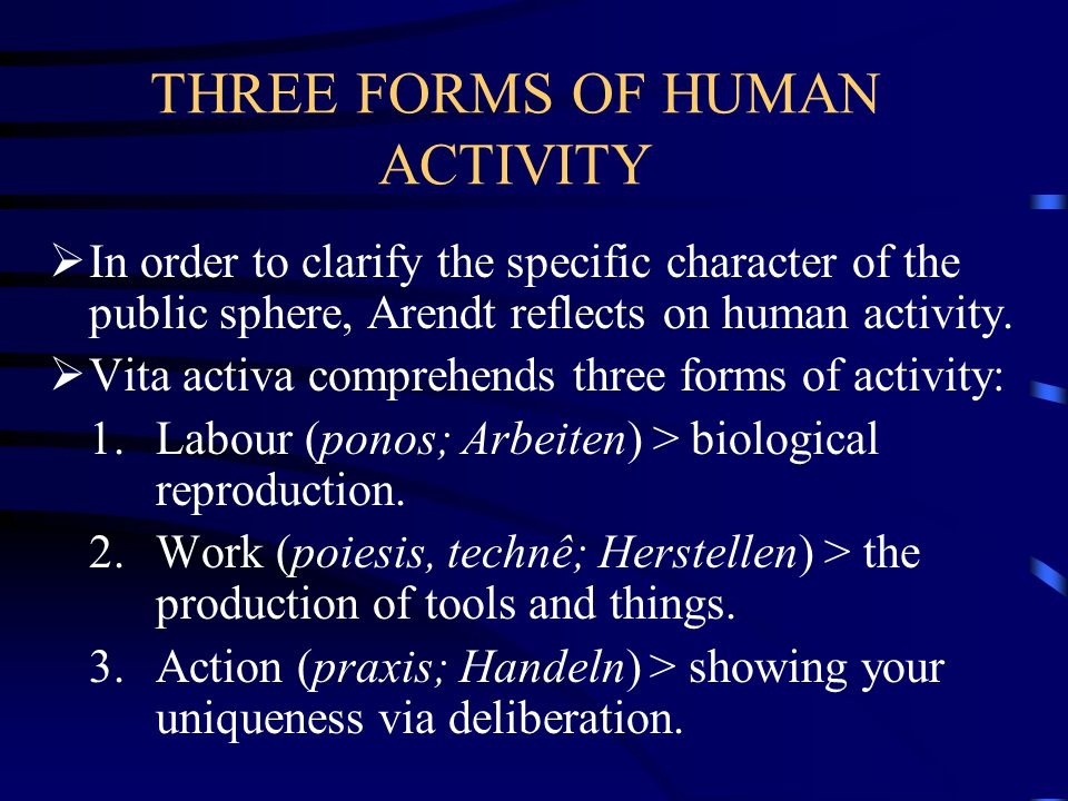 THREE FORMS OF HUMAN ACTIVITY  In order to clarify the specific character of the public sphere, Arendt reflects on human activity.
