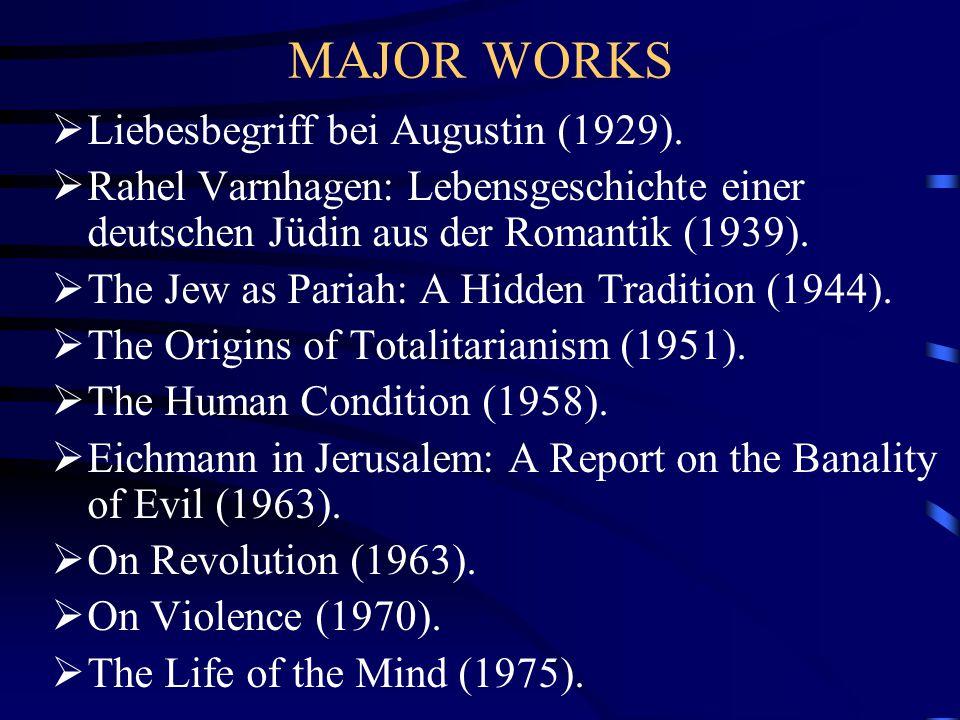 MAJOR WORKS  Liebesbegriff bei Augustin (1929).