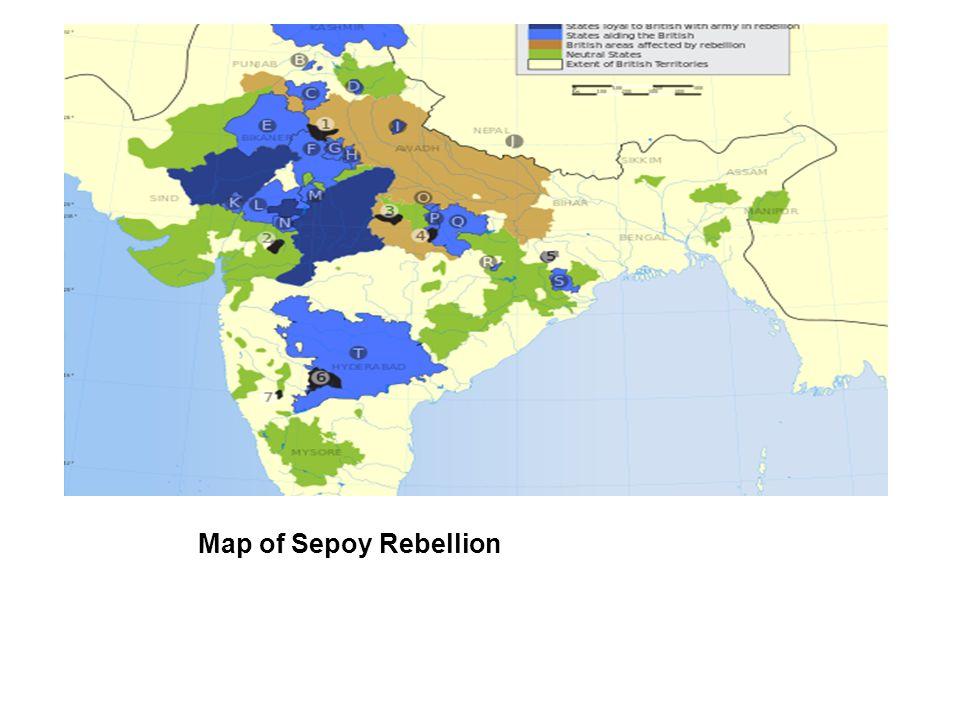 Map of Sepoy Rebellion