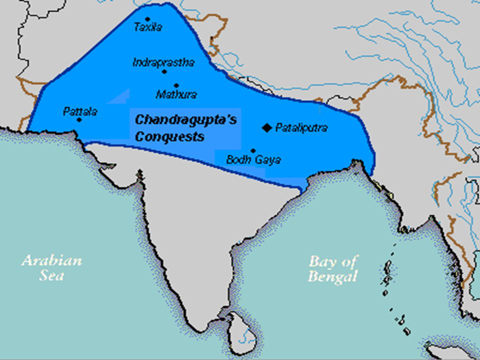 India's First Empire CHANDRA GUPTA MAURYA: His powerful army crushed any resistance to his rule Used spies to report any disloyalty among his subjects Was very cautious –– afraid of being poisoned, so had servants taste his food before he ate it –- afraid of being attacked, so never slept two nights in the same bed