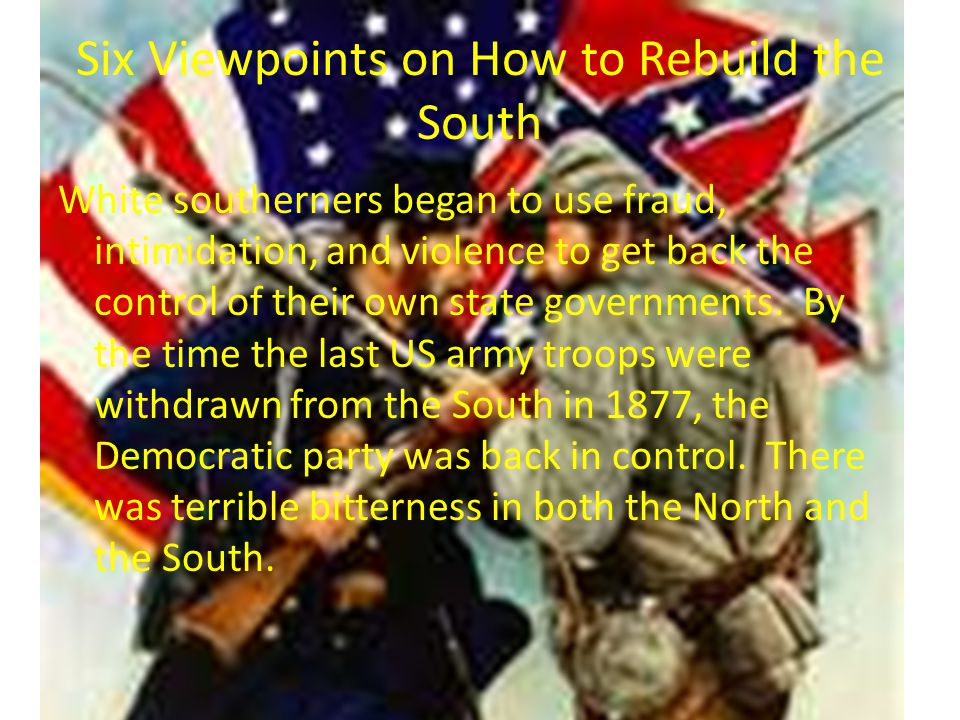 Laws of Reconstruction 13 th Amendment – Abolished slavery 14 th Amendment – Gives former slaves citizenship 15 th Amendment – Allows black the right to vote