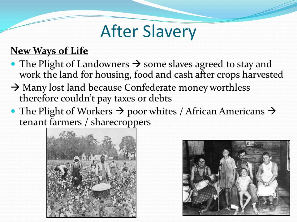 After Slavery New Ways of Life The Plight of Landowners  some slaves agreed to stay and work the land for housing, food and cash after crops harveste