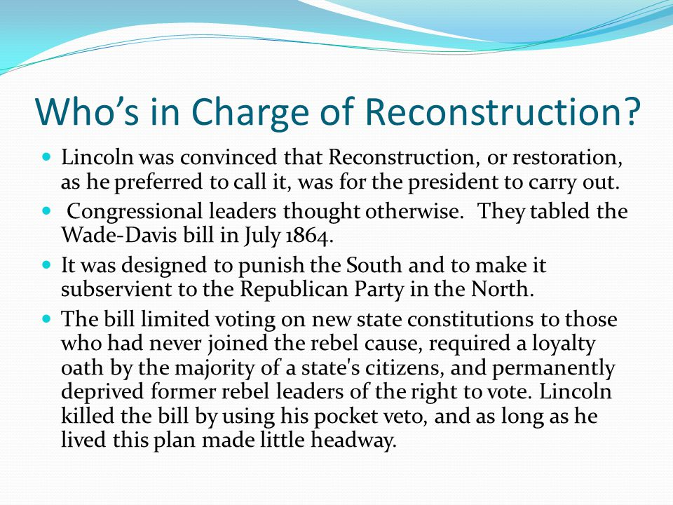 Who's in Charge of Reconstruction.