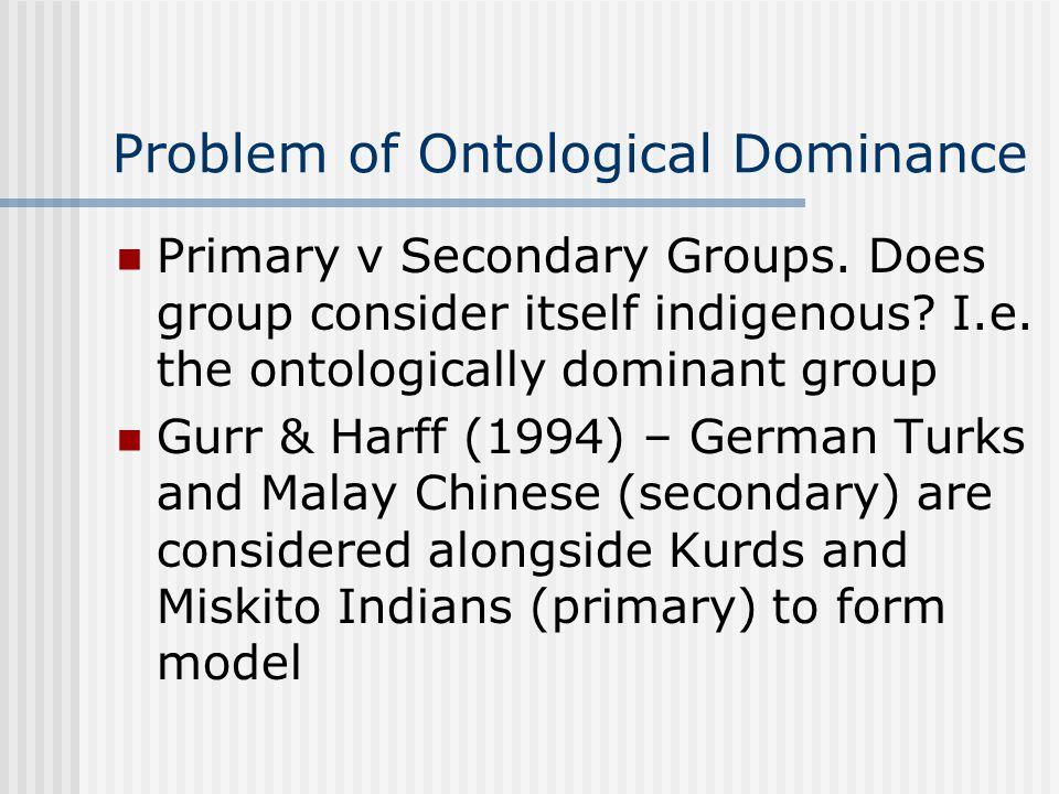 Dominant Ethnicity Ethnic group (primary/secondary) vs nation Schermerhorn 1970 - dominant majority , dominant minority Smith 1986 - core ethnie .