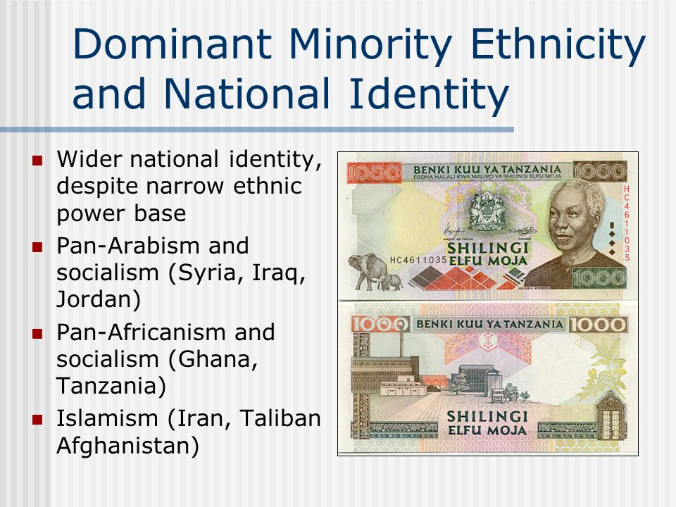 Dominant Minority Ethnicity and National Identity Wider national identity, despite narrow ethnic power base Pan-Arabism and socialism (Syria, Iraq, Jordan) Pan-Africanism and socialism (Ghana, Tanzania) Islamism (Iran, Taliban Afghanistan)